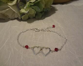 silver heart bracelet, bridesmaid jewelry, sterling silver heart, adjustable bracelet, Bridal bracelet