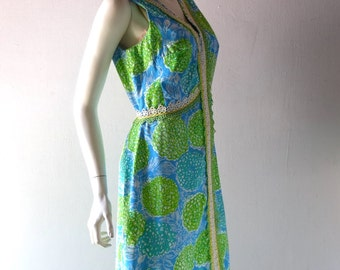 Vintage 1960s Turquoise & Lime Green Lilly Pulitzer Dress - Lace Trim - Susie Zuzek Key West Hand Prints - size