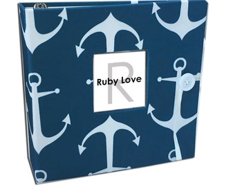 BABY BOOK | Navy Sailor Anchors Baby Book - Ruby Love Modern Baby Memory Book