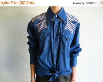 35% OFF SUMMER SALE Blue Gingham Print Patchwork Western-Style Buttondown Shirt