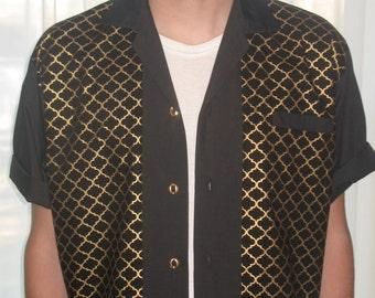 Men's Rockabilly Shirt Jac Metallic Gold and Black