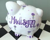 Purple Bouquet Piggy Bank Personalized Size Large