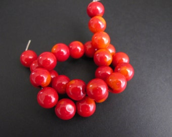 12mm Red Bamboo Coral Round Beads, 10 inch Strand Chunky Red Beads