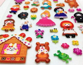 Cute Puffy Japanese Stickers - Snow White, Little Mermaid, Hansel & Gretel.. and Friends -  Fairy Tales Series