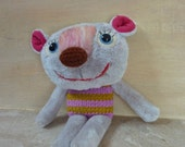 Little Teddy bear -  plush stuffed knitted felted bear toy, cute plushie