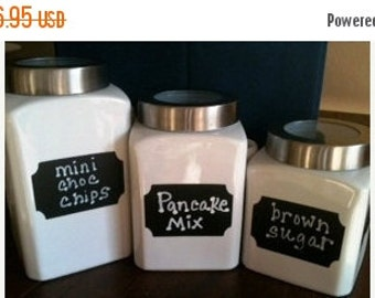 Buy 2 Get 1 FREE- Chalkboard Labels Rectangle Plaque- Self Adhesive Chalkboard Sticker- Kitchen Labels