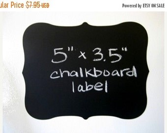 Get Organized SALE- Large Fancy Vinyl Chalkboard Labels Self Adhesive  - SET OF 6 -  Make your own mini chalkboards