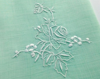 Vintage Green Linen Towel White Rose Embroidery