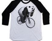 Panda on a Bike - Unisex American Apparel Raglan Baseball Tee Shirt