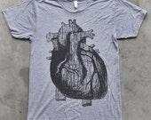 Mens ANATOMICAL HEART american apparel Short Sleeved T-Shirt Xs S M L xl xxl (tri grey)