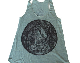 Womens Tank Bicycle in the woods - Tri-Blend Tank Top