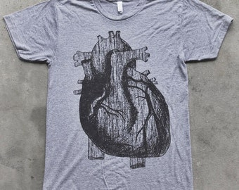 Mens ANATOMICAL HEART Short Sleeved T-Shirt Xs S M L xl xxl (tri grey)