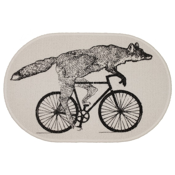 Fox on a Bike White Rug - Bath Mat or Door Mat