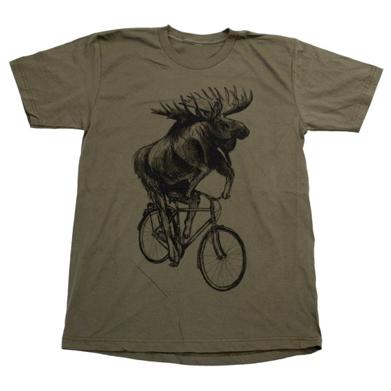Moose on a bicycle tee - Army green unisex american apparel shirt