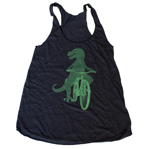 Dinosaur on a Bicycle Racerback Tank Top - American Apparel Tri Blend Black Heather - Available in XS, S, M, and L
