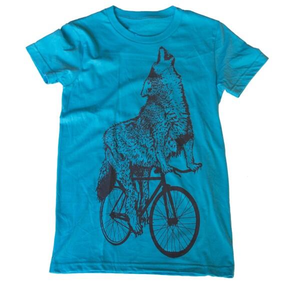 Womens WOLF BIKE T Shirt S M L Xl