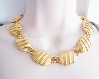 Vintage thick chunky striped oval gold chain link cocktail necklace/ collar (U)