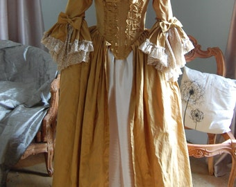 golden silk and satin Marie Antoinette Victorian inspired rococo costume dress halloween