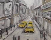Urban Haze Cityscape - Small Original Oil Painting - Home Decor by Prankearts