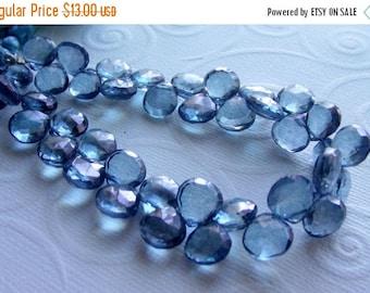 35% OFF Blue quartz faceted heart briolette