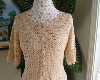 CHRISTMAS IN JULY 10% Off Brand New Handmade Crochet Lace Peach top, crochet blouse will fit Small size // Ready to be shipped Today
