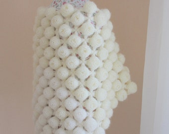 Ready to ship, Angora Wedding Shawl, Handmade Crochet Wedding Shawl/ Crochet Flower Shawl / Cover Up Bridal Accessories/ Winter wedding