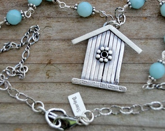 Sterling silver birdhouse necklace pendant light blue amazonite wire wrapped necklace natural stone nature jewelry gypsy bohemian hippie