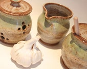 Ceramic Honey Pot Sugar Bowl ,Creamer and garlic Keeper  3 Piece set - Soft buttery yellow and green overlaps   IN STOCK