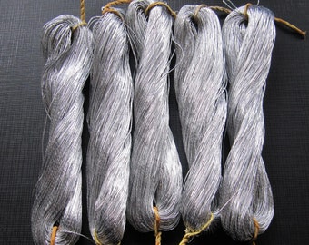 5 skeins Chinese Hand Embroidery silver metallic threads 65M per skein