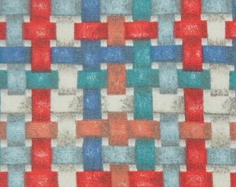 2669B -- Basket Weave Fabric in Red/Blue/Orange Color Combo