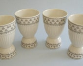 "4 Vintage Wm. Adams & Sons ""Adair"" Black and White Large Double Egg Cups 3 3/4 in. high"