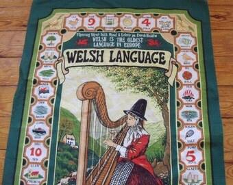 Vintage Souvenir Wales Welsh Language Tea Towel, Cotton, 19 x 30 inches