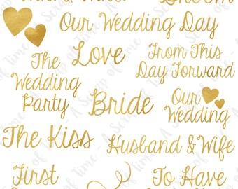 Golden Wedding Words Digital Clipart - Set of 14 - Gold Foil Wedding Day Words - Instant Download - Item #9157