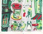Vintage Souvenir Towel Paris France Eiffel Tower Outdoor Cafe