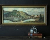 Antique 1950s Landscape Painting Oil On Cardboard With Frame Vintage From Nowvintage on Etsy