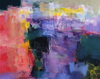 Small Box Painting 1146 - Original Oil Painting - 22.7 cm x 22.7 cm (app. 8.9 inch x 8.9 inch)