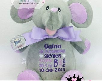 Personalized Baby Gift Elephant Stuffed Animal Custom Cubby Child Soft Plush Toy