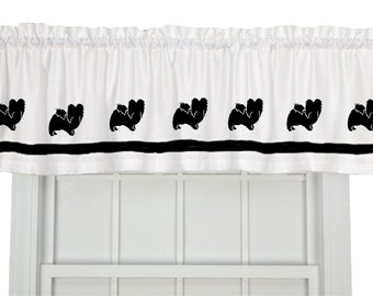 Papillon Dog Window Valance Window Treatment in Your Choice of Colors