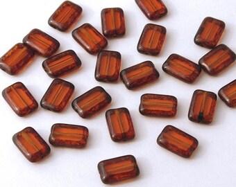Czech Glass Dark Topaz Picasso Rectangle 8x12 Window Beads - 12