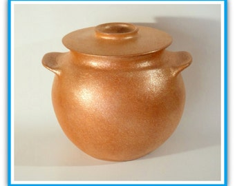 5.25 qt. Traditional Bean Pot, Handcoiled Micaceous Cookware, Clay Pot , Pottery Casserole, Clay Cooking Pots