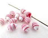 Vintage Japanese Beads Red White Swirl Glass Striped Oval Oat Rice Shape 7mm vgb0879 (15)