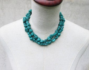 "Dark Green Turquoise Nugget Necklace,  Chunks Double Strand Statement ""Megan""  , Fox"