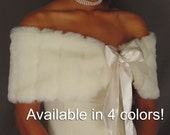 Faux fur stole shrug wedding wrap shawl bridal coat capelet with satin tie closure bridesmaid cover up FW101