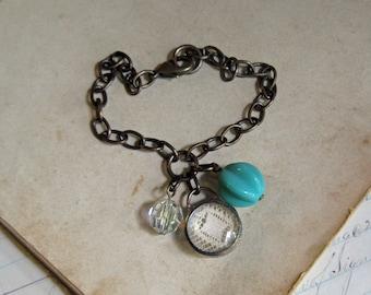 Vintage Lace Glass Charm Bracelet Recycled Jewelry