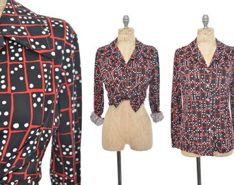 1970s DOMINO blouse / black and red novelty blouse / 70s shirt