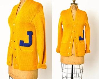 1940s varsity sweater / Juniata college cardigan sweater / 40s sweater
