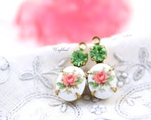 Pink & Peridot Swarovski Crystal 18x8mm Set Stones Earring Drops Vintage Oval Rose Flower Stones 1 Ring Brass Prong Settings - 2
