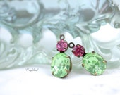Chrysolite & Rose Pink 18x8mm Rhinestone Dangles Vintage Oval Glass Set Stones 1 Loop Antique Brass Settings - 2 .