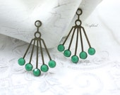 Opaque Green Swarovski Crystals 30x21mm RARE Vintage Art Deco Style Brass Dangle Finding - 2