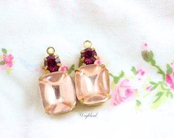 Vintage Pink & Fuchsia Glass Drops Set Stones 1 Loop Octagon 20x10mm Brass Prong Settings - 2